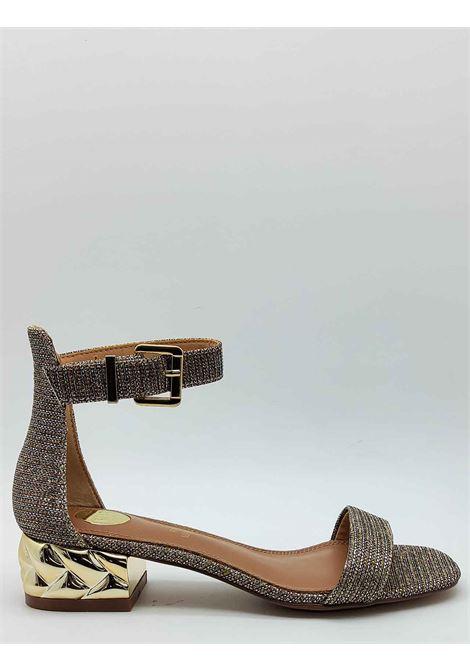 Calzature Donna Sandali in Tessuto Glitter Colore Champagne con Tacco Gioiello e Cinturino alla Caviglia Exe | Sandali | 624607