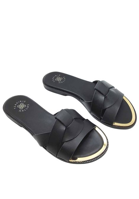 Women's Shoes Low Barefoot Sandal Black Braided Leather Slipper with Gold Metal Toe Exe | Flat sandals | 703001