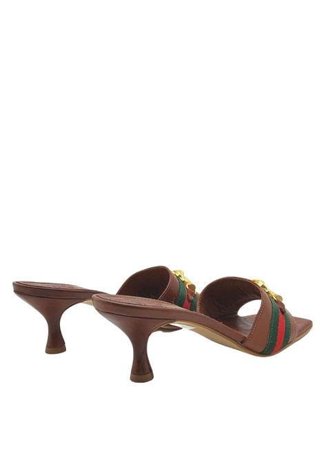 Women's sandals in tan leather, without strap. Square-toed barefoot with gold-colored accessory on fabric band Exe | Sandals | 705014