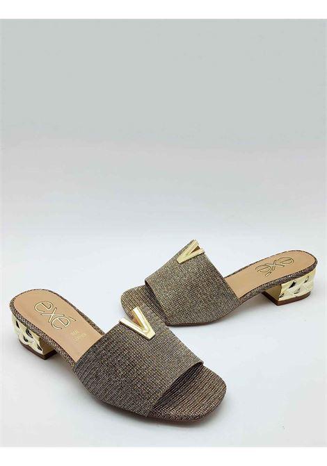 Calzature Donna Sandali Scalzati in Glitter Champagne con Accessorio in Oro e Tacco Gioiello Exe | Sandali | 725607