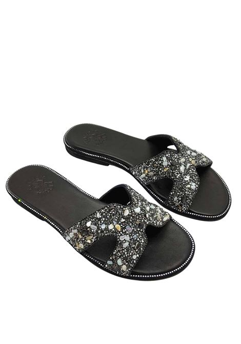 Women's Shoes Low Barefoot Sandal Black Leather Slipper with Studs and Strass Exe |  | 922001