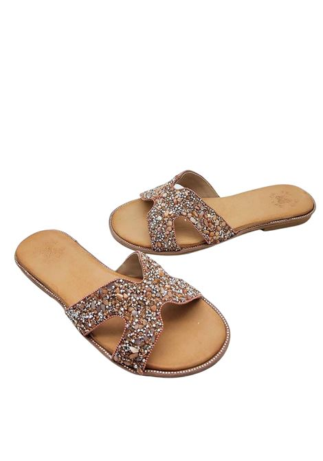 Women's Shoes Low Barefoot Sandal Slipper in Powder Leather with Studs and Strass Exe |  | 922033