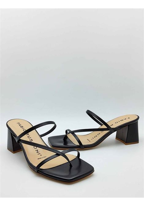 Women's Shoes Thong Sandals in Black Leather with Qudra Point and Heel in Tint Fabio Rusconi | Sandals | 1759001