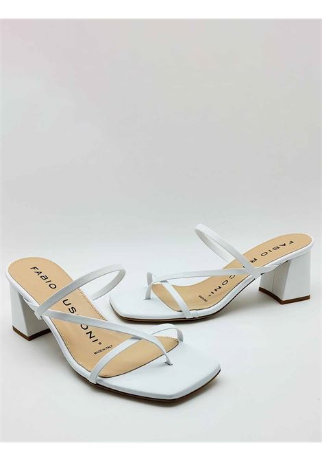 Women's Shoes Flip-Flops Sandals in White Leather with Qudra Toe and Matching Heel Fabio Rusconi | Sandals | 1759100