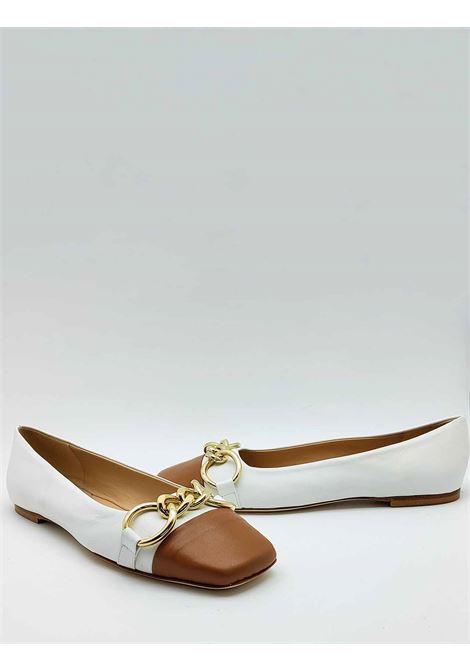 Calzature Donna Ballerine in Pelle Bianca con Puntale in Pelle Cuoio e Accessorio in Oro Fabio Rusconi | Ballerine | 5774100