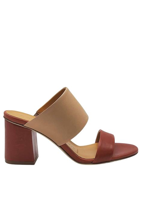 Women's Shoes Sandals in Brick and Powder Leather with Leather Sole Fabio Rusconi | Sandals | FANNY1318034