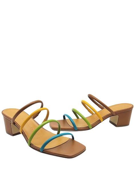 Women's Shoes Leather Sandals with Multicolour Leather Straps Square Toe and Leather Sole Fabio Rusconi | Sandals | GIOIA1194014