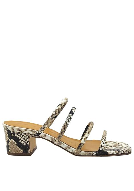 Women's Shoes Python Leather Sandals with Square Toe Leather Straps and Leather Sole Fabio Rusconi | Sandals | GIOIA1194502