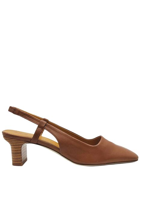 Women's Shoes Chanel Sandals in Tan Leather with Square Toe and Back Strap Fabio Rusconi | Sandals | LIVIA1330014