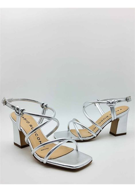 Women's Shoes Sandals in Silver Laminated Leather with Ankle Strap and High Heel Fabio Rusconi | Sandals | PAZIN604
