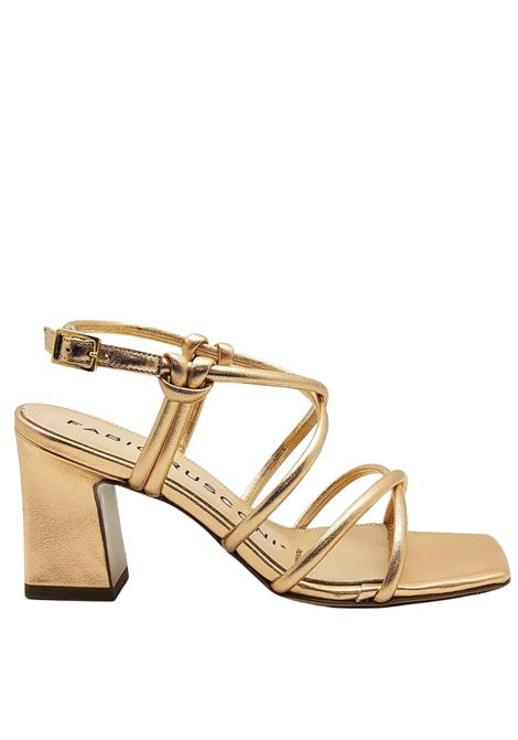 Women's Shoes Sandals in Champagne Laminated Leather with Ankle Strap and High Heel Fabio Rusconi | Sandals | PAZIN607