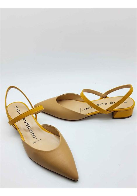 Women's Shoes Sandals with Closed Toe Bicolor Beige and Mustard with Double Strap Fabio Rusconi | Sandals | S5436008