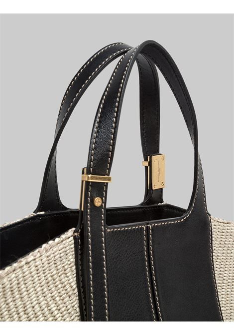 Diletta Woman Shoulder Bag In Black Leather And Natural Fabric With Adjustable Handles Gianni Chiarini | Bags and backpacks | BS7626698