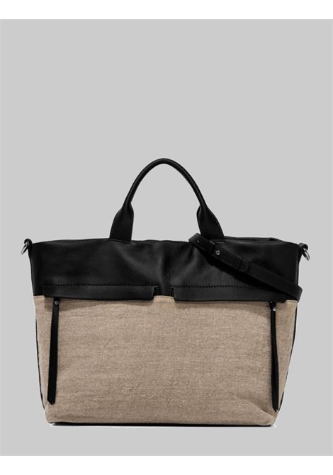 Duna Woman Shoulder Bag Natural Fabric And Black Leather With Double Handle And Double Shoulder Strap Gianni Chiarini | Bags and backpacks | BS823210313
