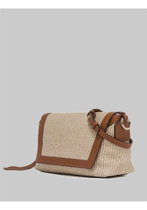 Africa Woman Shoulder Bag in Natural Fabric and Tan Leather Rope Handle and Adjustable and Removable Leather Shoulder Strap Gianni Chiarini | Bags and backpacks | BS83762436