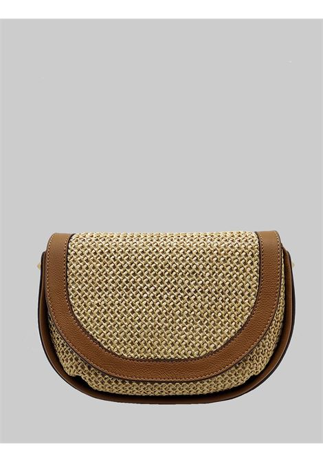 Diana Woman Shoulder Bag In Natural Fabric And Leather With Handle And Shoulder Strap And Chain Gianni Chiarini | Bags and backpacks | BS839511130