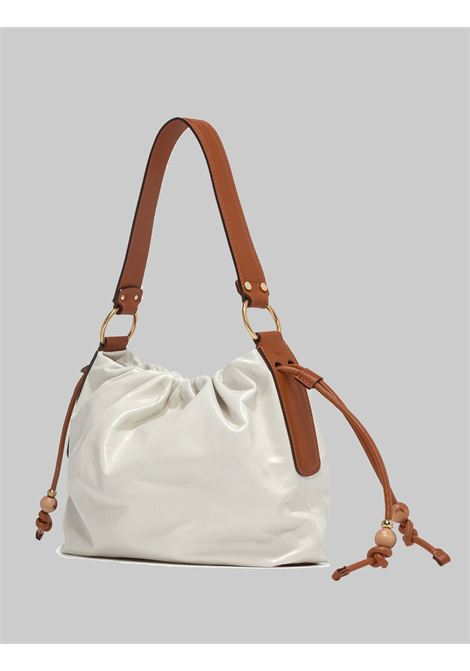 Peonia Woman Shoulder Bag In Cream Leather With Laces And Leather Shoulder Strap Gianni Chiarini | Bags and backpacks | BS84203890