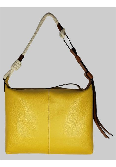 Medium Navy Woman Shoulder Bag In Mustard Leather With Natural Rope Shoulder Strap Gianni Chiarini | Bags and backpacks | BS850511040