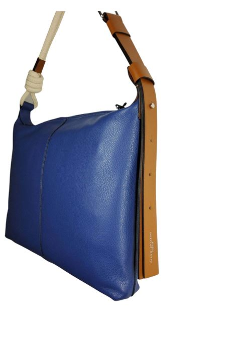 Medium Navy Woman Shoulder Bag In Blue Leather With Natural Rope Shoulder Strap Gianni Chiarini   Bags and backpacks   BS85056241