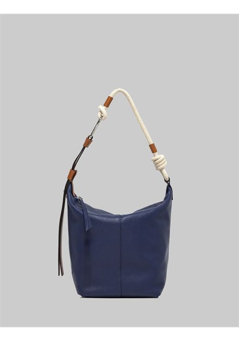 Small Navy Woman Shoulder Bag In Blue Leather With Natural Rope Shoulder Strap Gianni Chiarini | Bags and backpacks | BS85076241