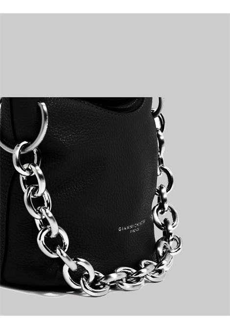 Small Sophia Women's Satchel Bag In Black Leather With Silver Chain And Adjustable And Removable Shoulder Strap Gianni Chiarini | Bags and backpacks | BS8515001