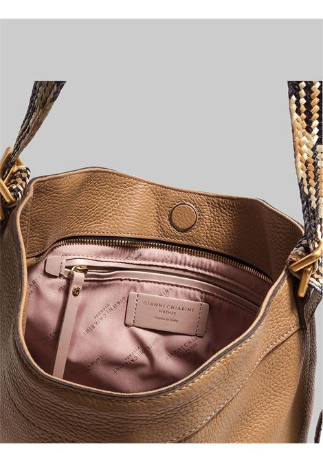 Amaranta Woman Shoulder Bag In Cappuccino Leather With Multicolored Fabric Handle Gianni Chiarini | Bags and backpacks | BS85210226