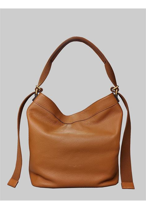 Amaranta Woman Shoulder Bag In Tan Leather With Dyed-On-Dyed Fabric Handle Gianni Chiarini | Bags and backpacks | BS852111041