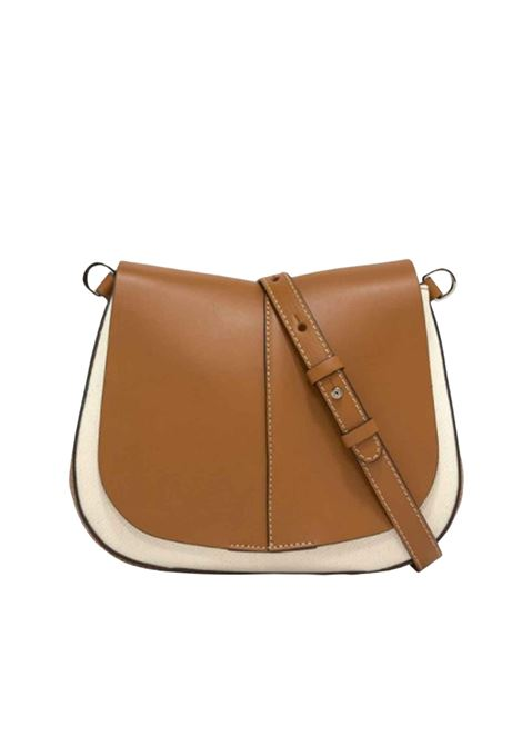 Helena Round Woman Shoulder Bag in Tan Leather and Natural Fabric with Adjustable and Removable Leather Shoulder Strap Gianni Chiarini | Bags and backpacks | BS858611130