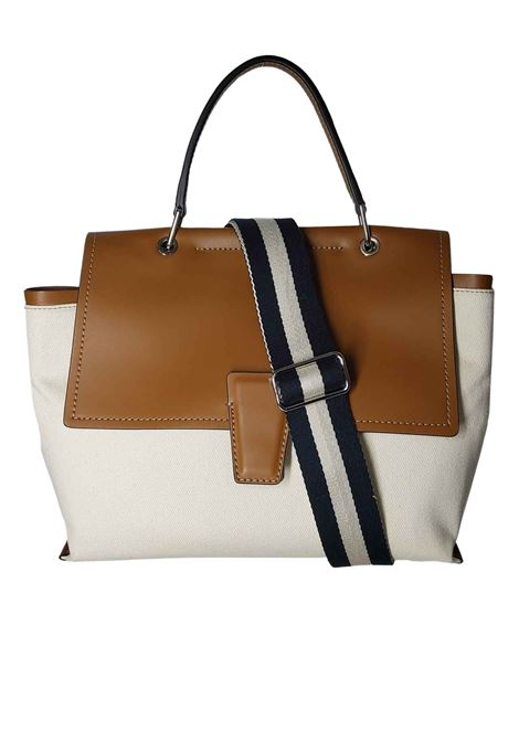 Elettra Mediterranea Shoulder Bag in Tan Leather and Natural Fabric with Adjustable and Removable Shoulder Strap Gianni Chiarini   Bags and backpacks   BS86522296
