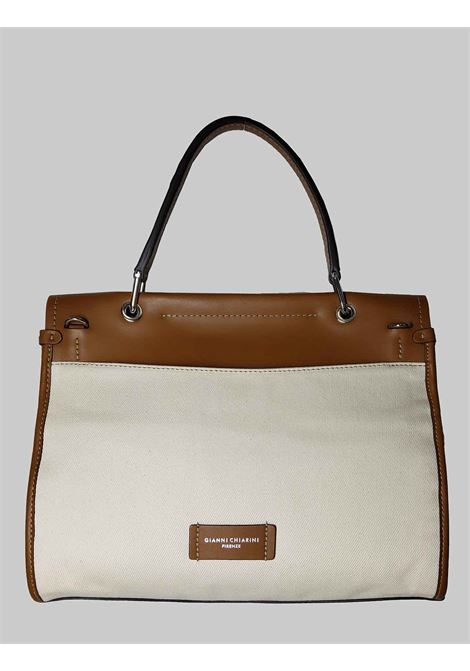 Elettra Mediterranea Shoulder Bag in Tan Leather and Natural Fabric with Adjustable and Removable Shoulder Strap Gianni Chiarini | Bags and backpacks | BS86522296