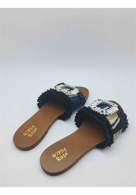Women's Shoes Flat Sandals in Black Multicolor Fabric with Jewel Accessory Gipsy Rose | Sandals | GLAM001