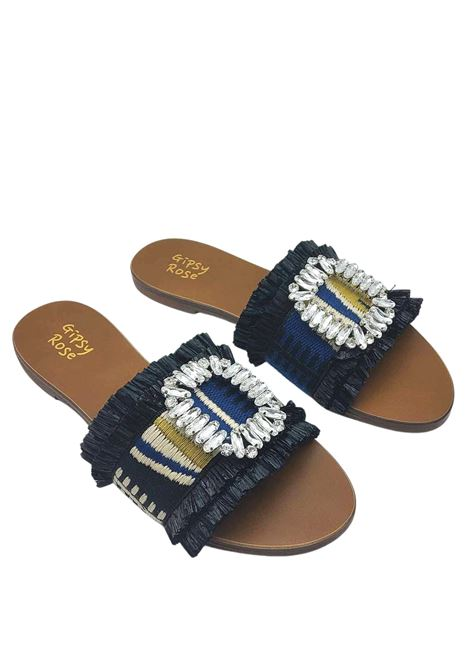 Women's Shoes Flat Sandals in Black Multicolor Fabric with Jewel Accessory Gipsy Rose | Flat sandals | GLAM001