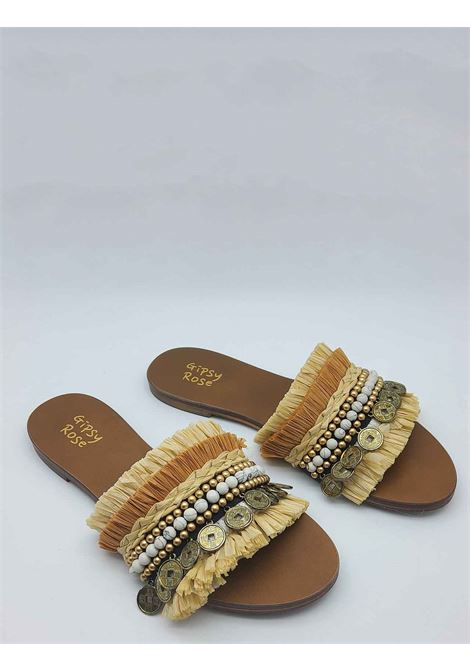 Women's Shoes Flat Sandals in Natural Multicolor Fabric with Fringes and Accessories Gipsy Rose | Sandals | STRIBE014
