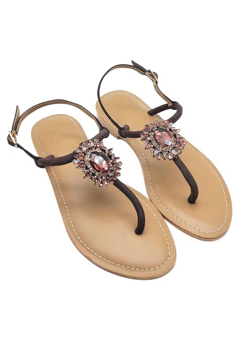 Women's Shoes Sandals Flip Flops in Brown Suede with Jewel Accessory and Strap Hadel | Flat sandals | 1SA447013