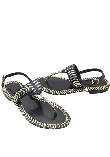 Women's Shoes Low Thong Sandals in Black Leather with Platinum Laminated Leather Stitching Hadel | Flat sandals | 1SA517001