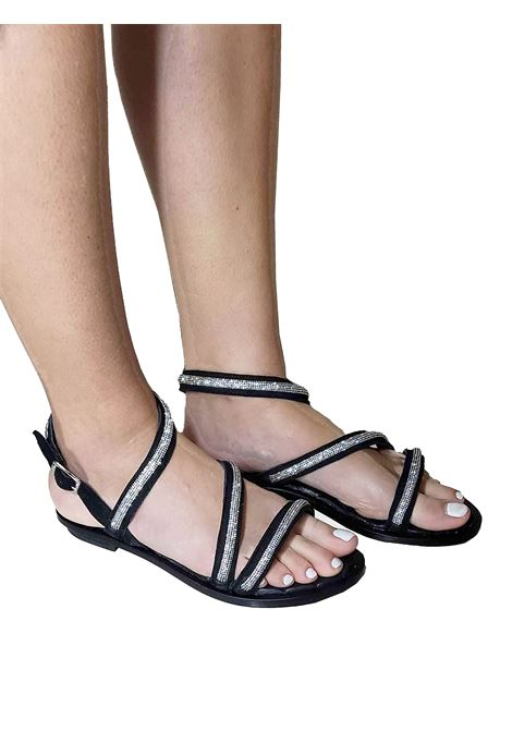 Women's Shoes Flat Sandals in Black Suede with Strass Straps and Ankle Strap Hadel | Flat sandals | 1SA539001