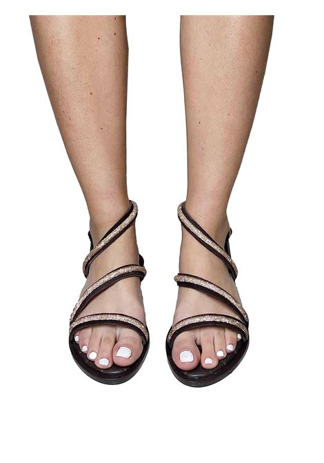 Women's Shoes Low Sandals in Brown Suede with Strass Straps and Ankle Strap Hadel | Flat sandals | 1SA539013