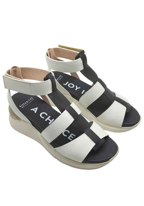 Women's Shoes White and Black Leather Sandals with Rubber Straps and Wedge Hispanitas | Sandals | HV210290900