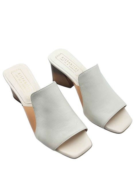 Women's Shoes White Leather Barefoot Sandals with Smoky Bronze Heel Hispanitas | Sandals | HV211219100