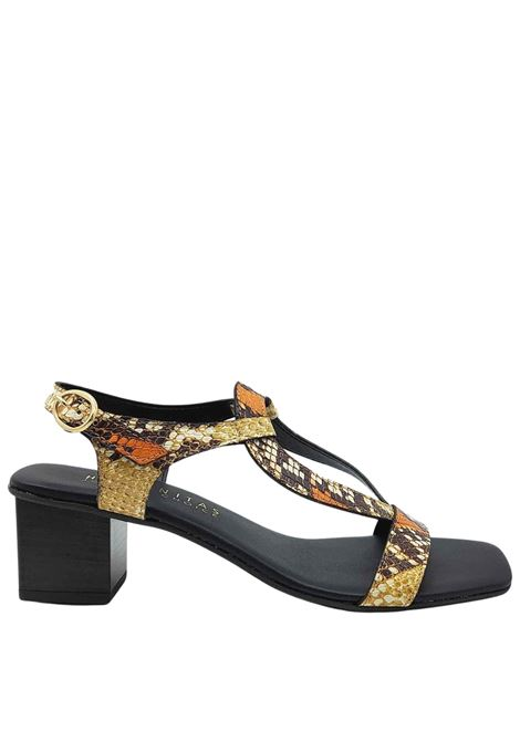 Women's Shoes Python Printed Leather Sandals with Back Strap and Side Buckle Hispanitas | Sandals | HV211300502