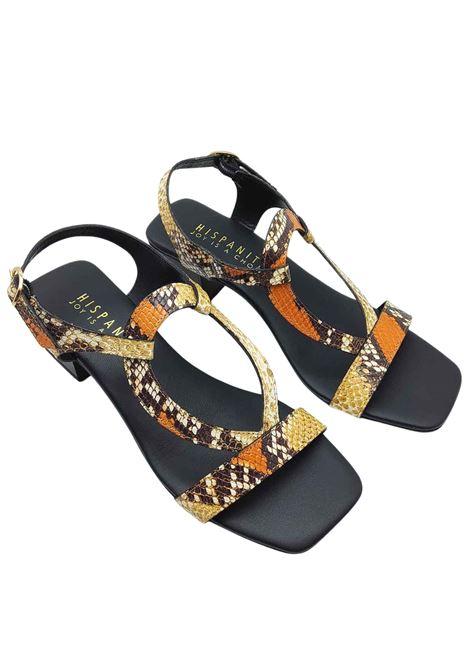 Calzature Donna Sandali in Pelle Stampata Pitone con Cinturino Posteriore e Fibbietta Laterale Hispanitas | Sandali | HV211300502
