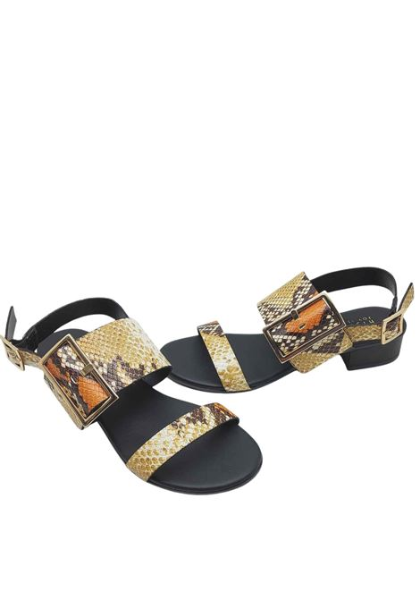 Women's Shoes Python Print Leather Sandals with Gold Side Buckle and Back Strap Hispanitas | Sandals | HV211302502