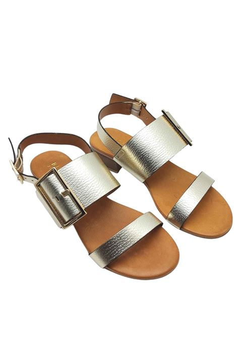 Women's Shoes Platinum Laminated Leather Sandals with Gold Side Buckle and Back Strap Hispanitas | Sandals | HV211302600
