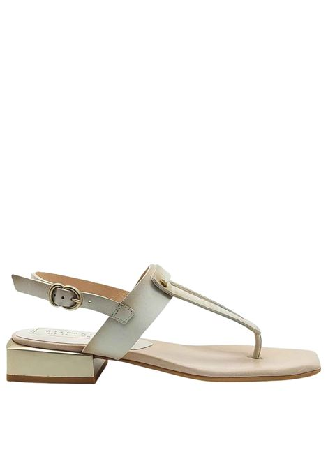 Women's Shoes Thong Sandals in Cream Coconut Effect Leather with Metal Heel and Heel Strap Hispanitas | Sandals | HV211388016