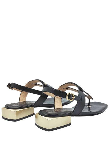 Women's Shoes Thong Sandals in Black Coconut Effect Leather with Metal Heel and Heel Strap Hispanitas | Sandals | HV211388903