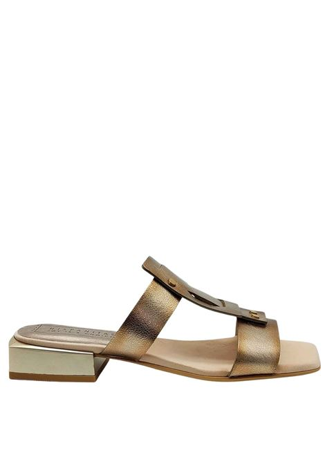 Women's Shoes Sandals in Gold Laminated Leather Without Strap and Metal Heel Hispanitas | Sandals | HV211390602