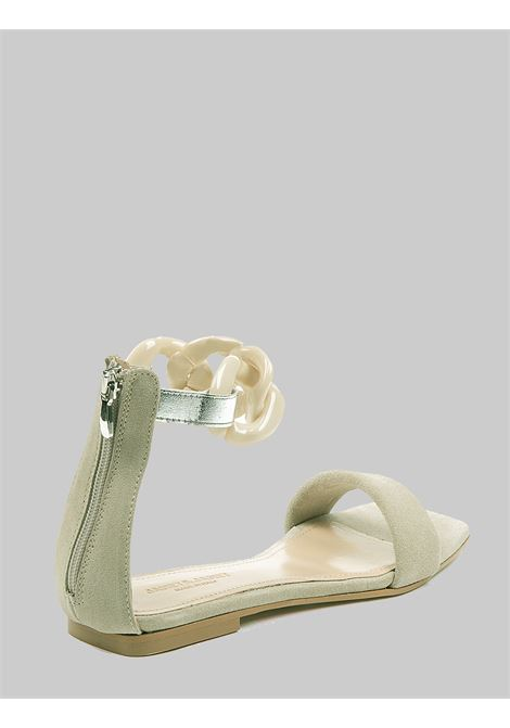 Women's Shoes Low Sandals in Ivory Suede Low with Chain Anklet Janet & Janet | Sandals | 01103015