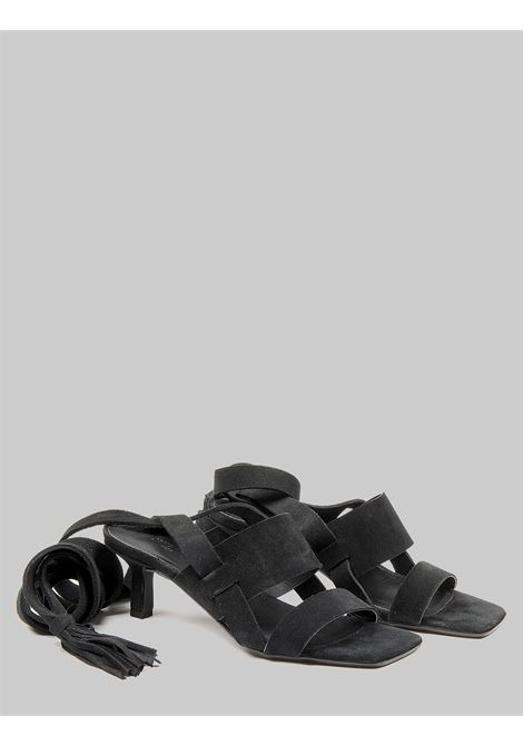 Women's Shoes Black Suede Sandals with Double Band and Ankle Laces Janet & Janet | Sandals | 01151001