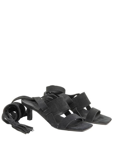 Calzature Donna Sandali in Camoscio Nero con Doppia Fascia e Lacci alla Caviglia Janet & Janet | Sandali | 01151001