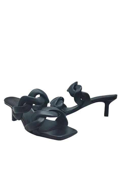 Calzature Donna Sandali in Pelle Nera con Doppia Fascia Intrecciata Tacco 60 Janet & Janet | Sandali | 01153001